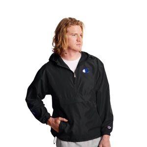 Men's Champion Black Packable Jacket Logo Sleeve